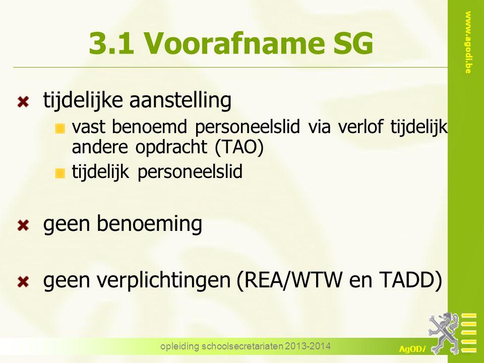 www.agodi.be AgODi 3.1 Voorafname SG tijdelijke aanstelling vast benoemd personeelslid via verlof tijdelijk andere opdracht (TAO) tijdelijk personeels