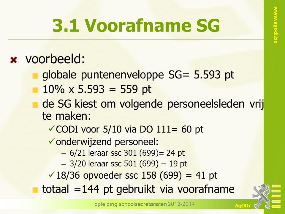 www.agodi.be AgODi 3.1 Voorafname SG voorbeeld: globale puntenenveloppe SG= 5.593 pt 10% x 5.593 = 559 pt de SG kiest om volgende personeelsleden vrij