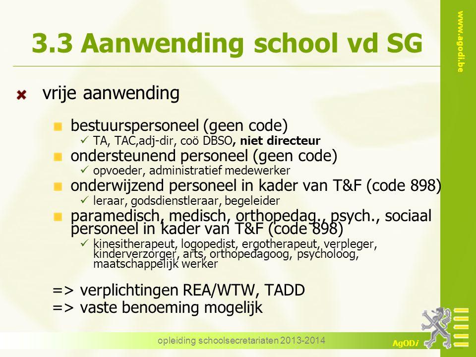 www.agodi.be AgODi 3.3 Aanwending school vd SG vrije aanwending bestuurspersoneel (geen code) TA, TAC,adj-dir, coö DBSO, niet directeur ondersteunend