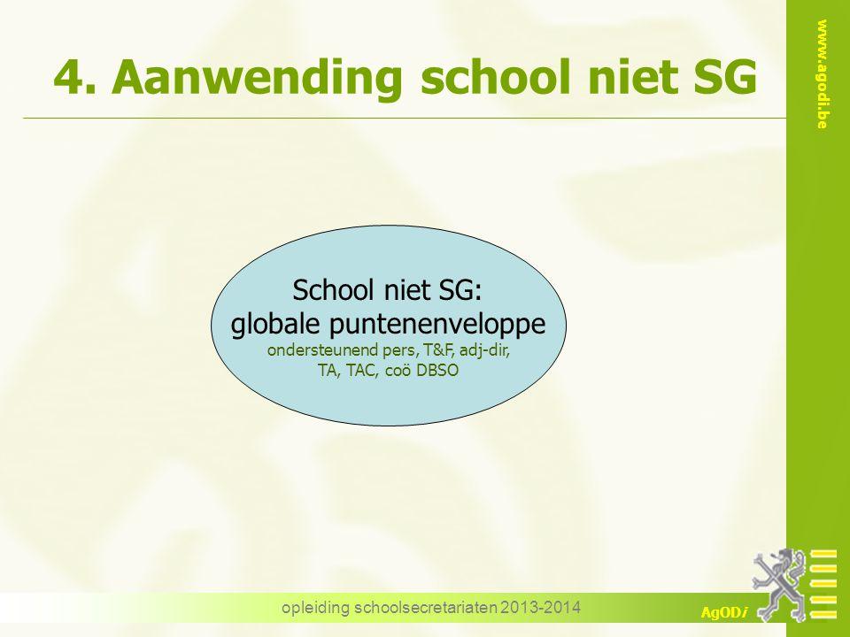 www.agodi.be AgODi 4. Aanwending school niet SG opleiding schoolsecretariaten 2013-2014 School niet SG: globale puntenenveloppe ondersteunend pers, T&