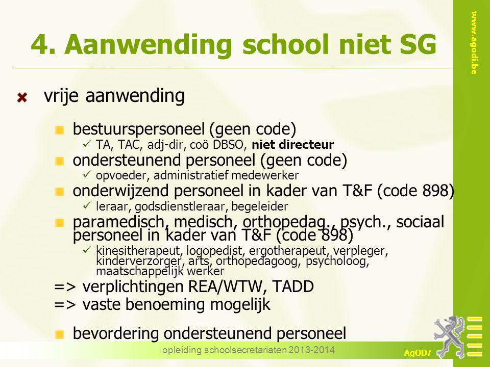 www.agodi.be AgODi 4. Aanwending school niet SG vrije aanwending bestuurspersoneel (geen code) TA, TAC, adj-dir, coö DBSO, niet directeur ondersteunen