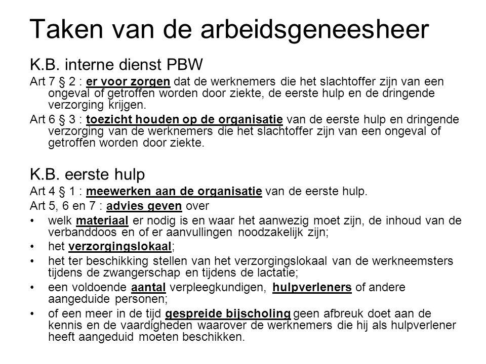 Taken van de arbeidsgeneesheer K.B. interne dienst PBW Art 7 § 2 : er voor zorgen dat de werknemers die het slachtoffer zijn van een ongeval of getrof