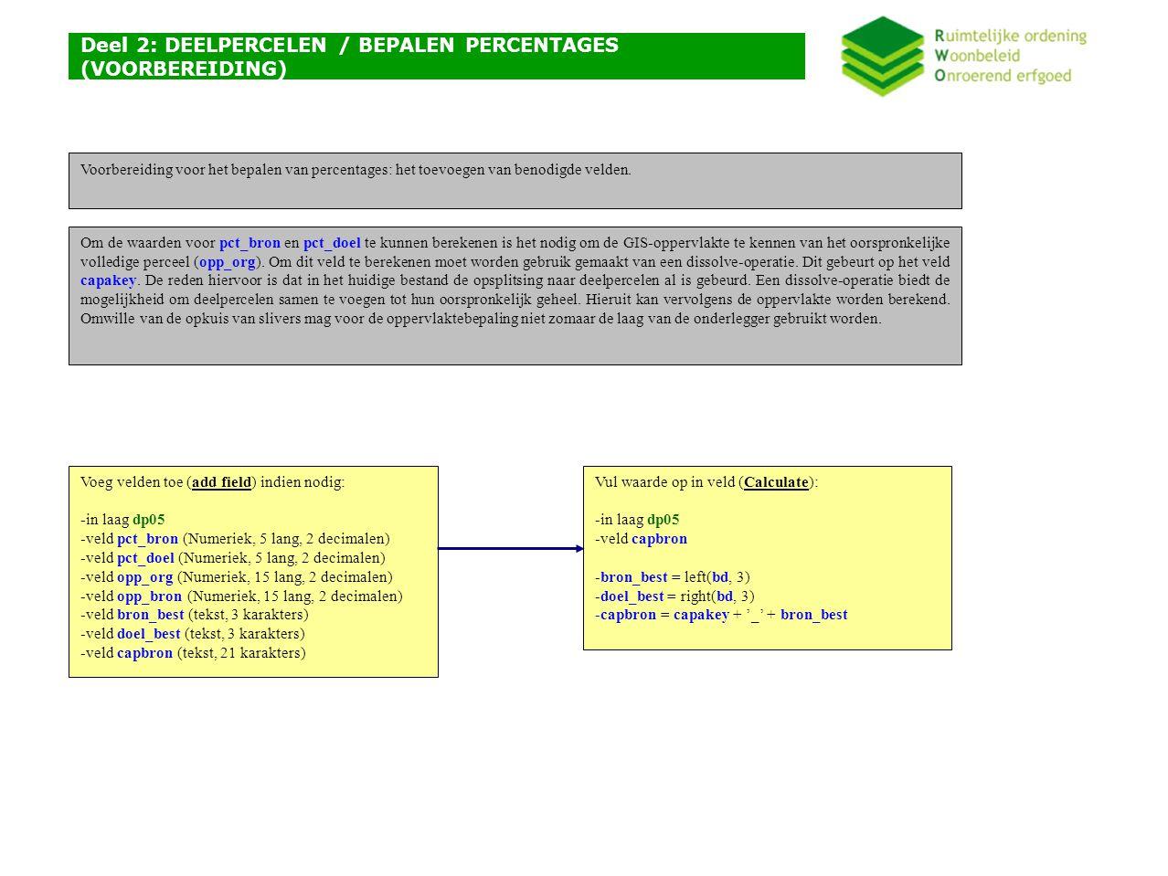 Deel 2: DEELPERCELEN / BEPALEN PERCENTAGES (VOORBEREIDING) Voeg velden toe (add field) indien nodig: -in laag dp05 -veld pct_bron (Numeriek, 5 lang, 2 decimalen) -veld pct_doel (Numeriek, 5 lang, 2 decimalen) -veld opp_org (Numeriek, 15 lang, 2 decimalen) -veld opp_bron (Numeriek, 15 lang, 2 decimalen) -veld bron_best (tekst, 3 karakters) -veld doel_best (tekst, 3 karakters) -veld capbron (tekst, 21 karakters) Om de waarden voor pct_bron en pct_doel te kunnen berekenen is het nodig om de GIS-oppervlakte te kennen van het oorspronkelijke volledige perceel (opp_org).