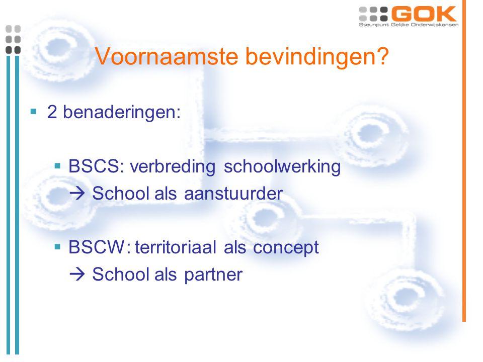 Voornaamste bevindingen?  2 benaderingen:  BSCS: verbreding schoolwerking  School als aanstuurder  BSCW: territoriaal als concept  School als par