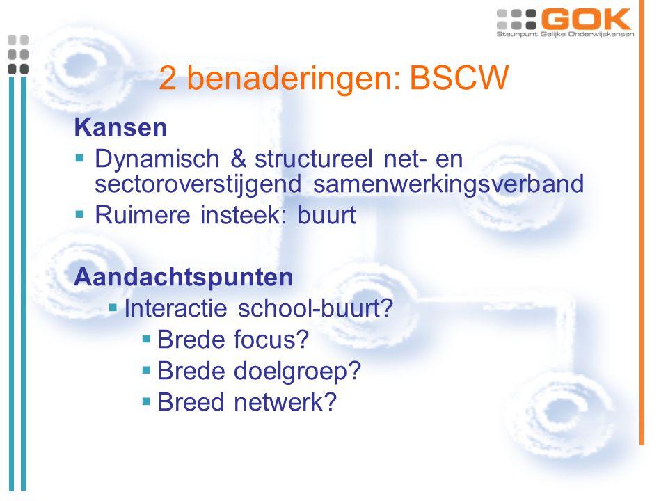 2 benaderingen: BSCW Kansen  Dynamisch & structureel net- en sectoroverstijgend samenwerkingsverband  Ruimere insteek: buurt Aandachtspunten  Interactie school-buurt.