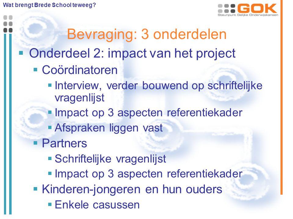 Bevraging: 3 onderdelen  Onderdeel 2: impact van het project  Coördinatoren  Interview, verder bouwend op schriftelijke vragenlijst  Impact op 3 a