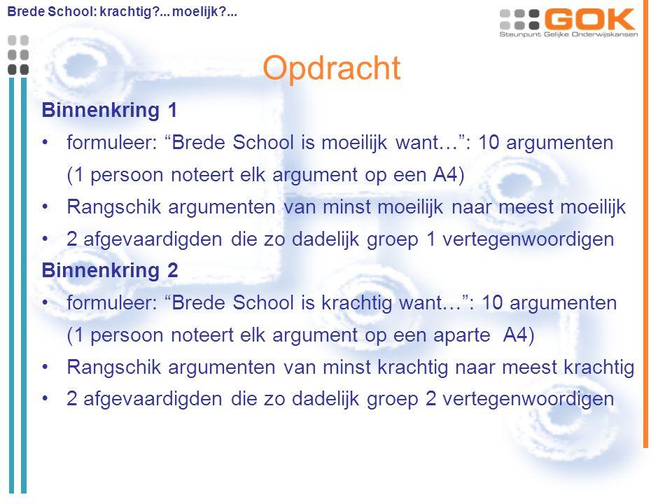 """Opdracht Binnenkring 1 formuleer: """"Brede School is moeilijk want…"""": 10 argumenten (1 persoon noteert elk argument op een A4) Rangschik argumenten van"""
