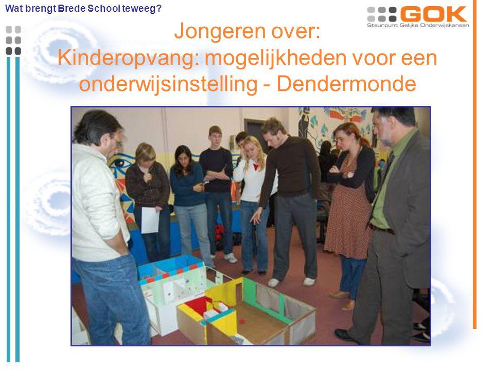 Jongeren over: Kinderopvang: mogelijkheden voor een onderwijsinstelling - Dendermonde Wat brengt Brede School teweeg?
