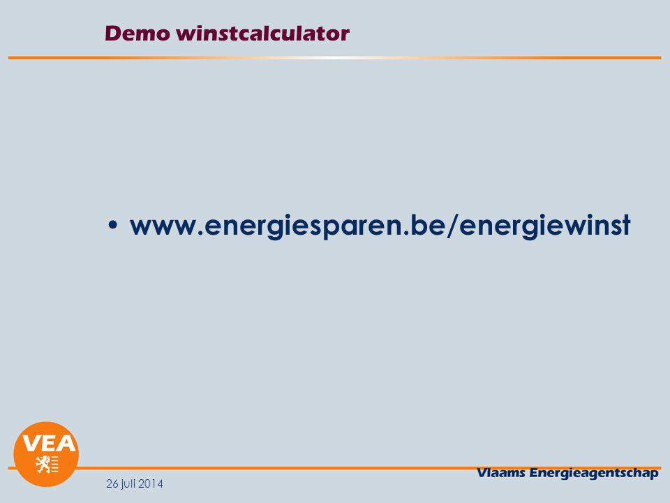 Demo winstcalculator www.energiesparen.be/energiewinst