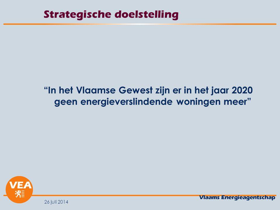 """26 juli 2014 Strategische doelstelling """"In het Vlaamse Gewest zijn er in het jaar 2020 geen energieverslindende woningen meer"""""""