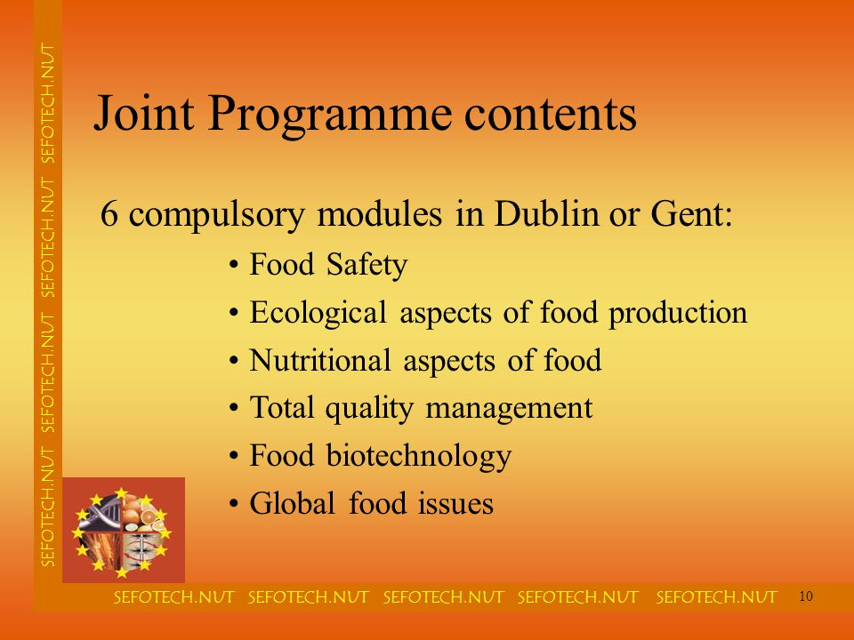 SEFOTECH.NUT SEFOTECH.NUT SEFOTECH.NUT SEFOTECH.NUT SEFOTECH.NUT SEFOTECH.NUT SEFOTECH.NUT Joint Programme contents 6 compulsory modules in Dublin or Gent: Food Safety Ecological aspects of food production Nutritional aspects of food Total quality management Food biotechnology Global food issues 10