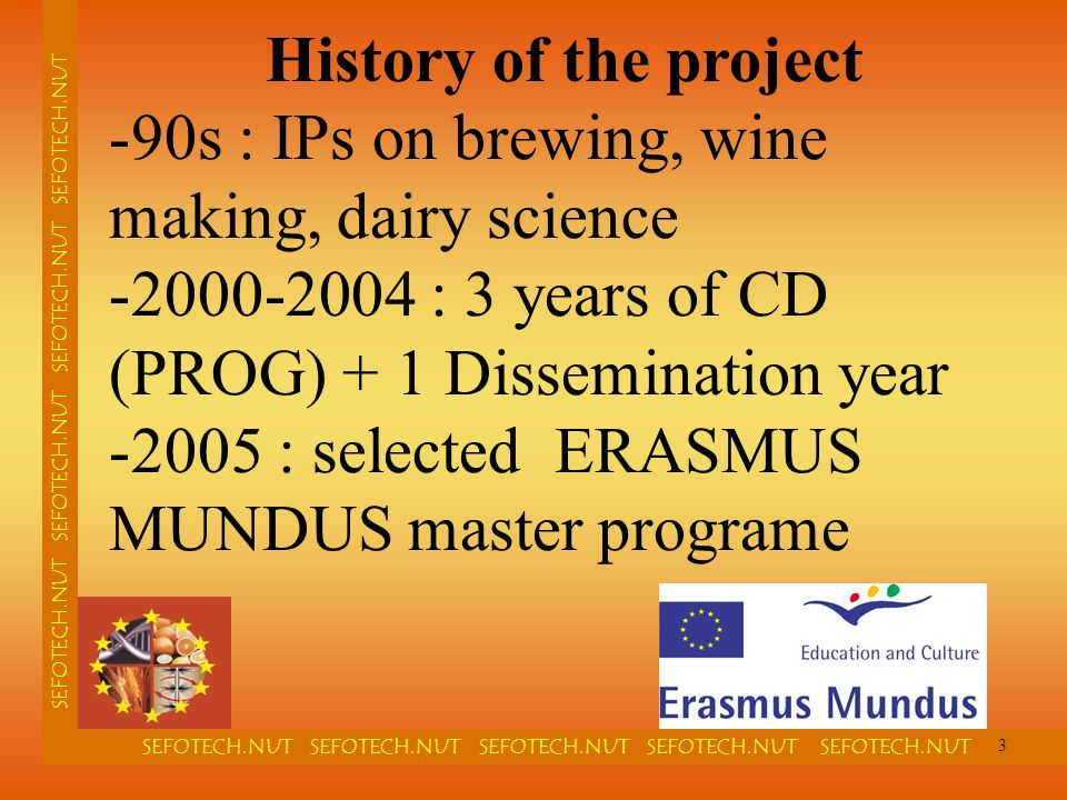 SEFOTECH.NUT SEFOTECH.NUT SEFOTECH.NUT SEFOTECH.NUT SEFOTECH.NUT SEFOTECH.NUT SEFOTECH.NUT History of the project -90s : IPs on brewing, wine making,