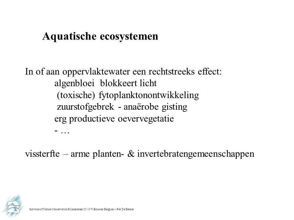 Institute of Nature Conservation Kliniekstraat 25 1070 Brussels Belgium – Piet De Becker Aquatische ecosystemen In of aan oppervlaktewater een rechtst