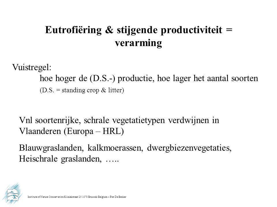 Institute of Nature Conservation Kliniekstraat 25 1070 Brussels Belgium – Piet De Becker Eutrofiëring & stijgende productiviteit = verarming Vuistregel: hoe hoger de (D.S.-) productie, hoe lager het aantal soorten (D.S.
