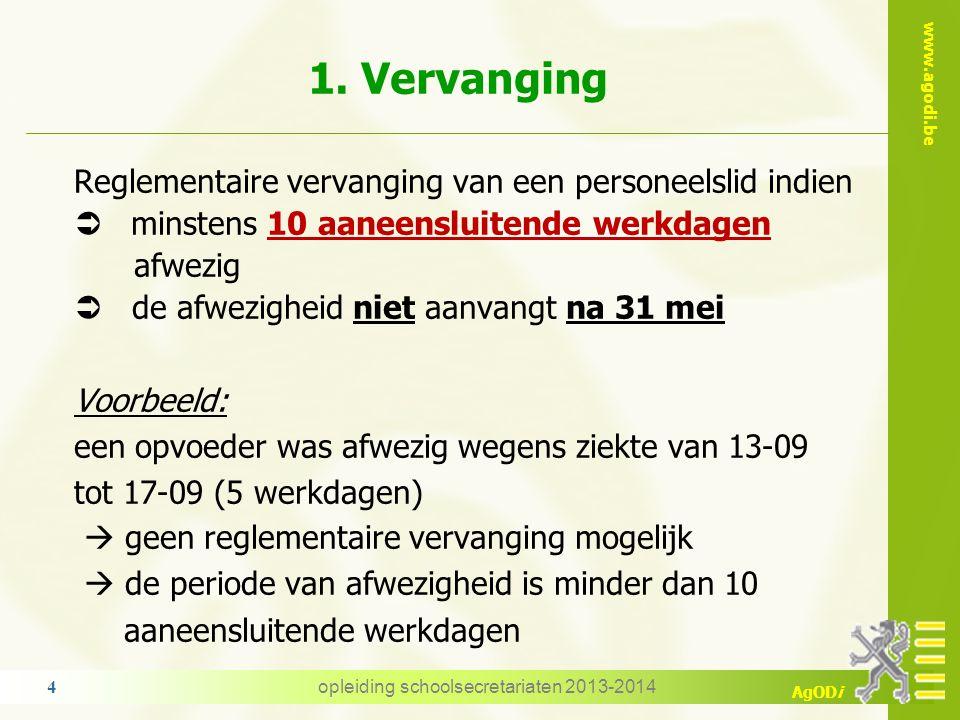 www.agodi.be AgODi 1. Algemene principes 1.Vervanging van een afwezig personeelslid 2.Elektronische melding Opdrachtgebonden dienstonderbrekingen Niet