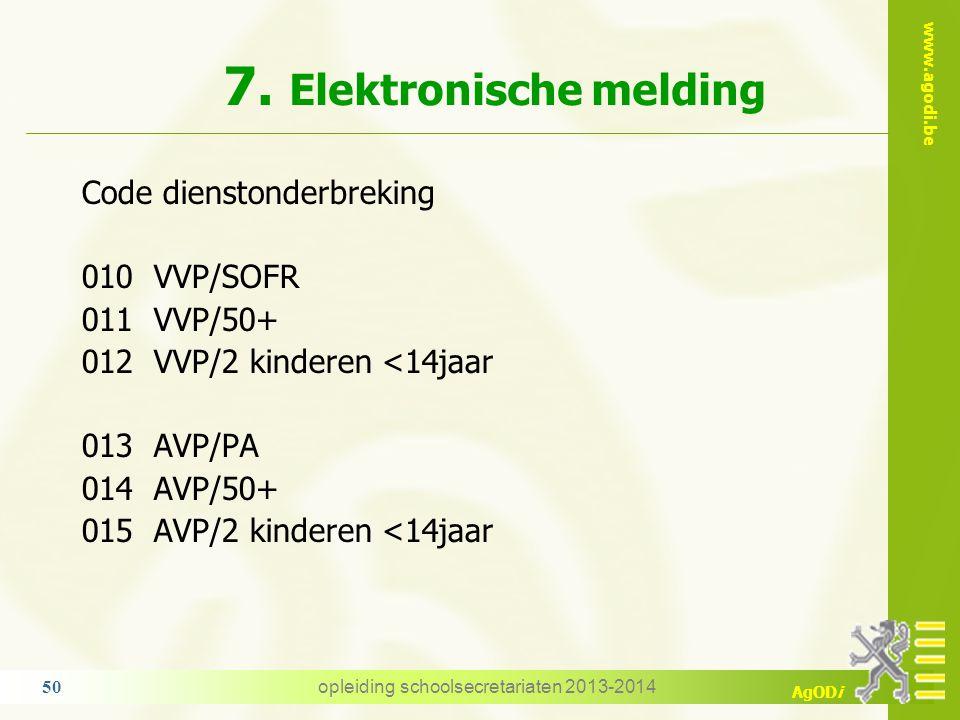 www.agodi.be AgODi 7. Elektronische melding RL 1 want opdrachtgebonden DO Opmerking: opschorting van een VVP of AVP door een ander verlofstelsel  beg