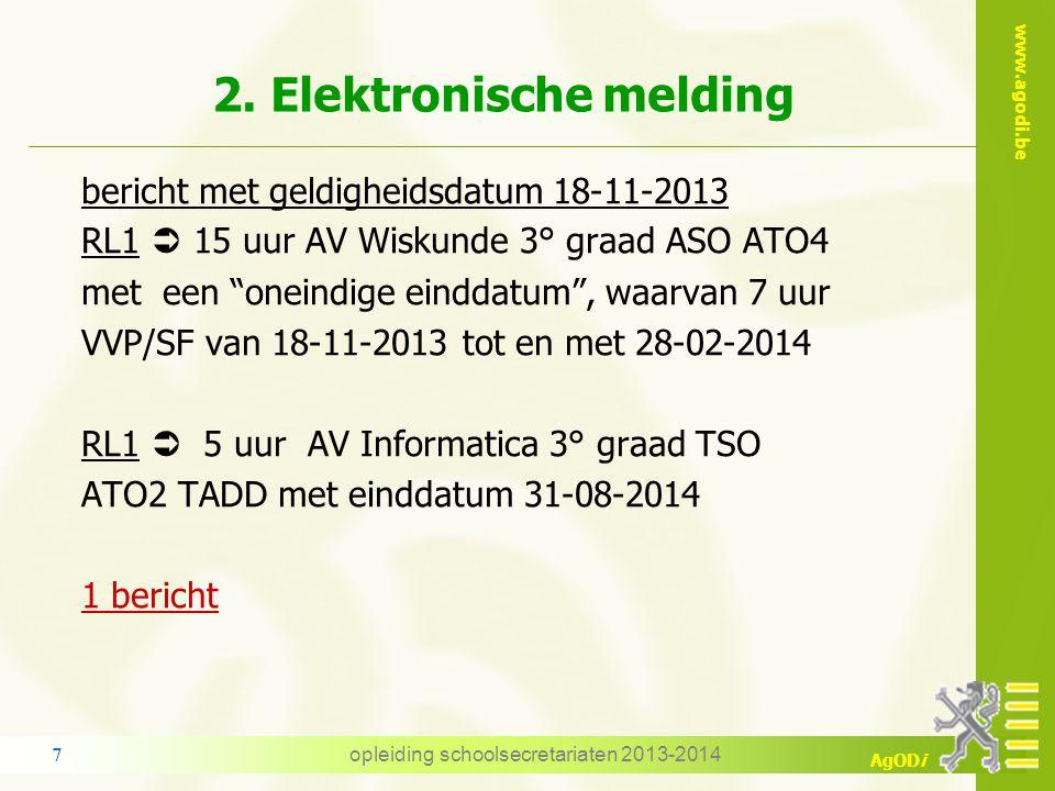 www.agodi.be AgODi 2. Elektronische melding Opdrachtgebonden dienstonderbrekingen worden gemeld met de opdracht volgens het fotoprincipe (VVP, AVP, GL