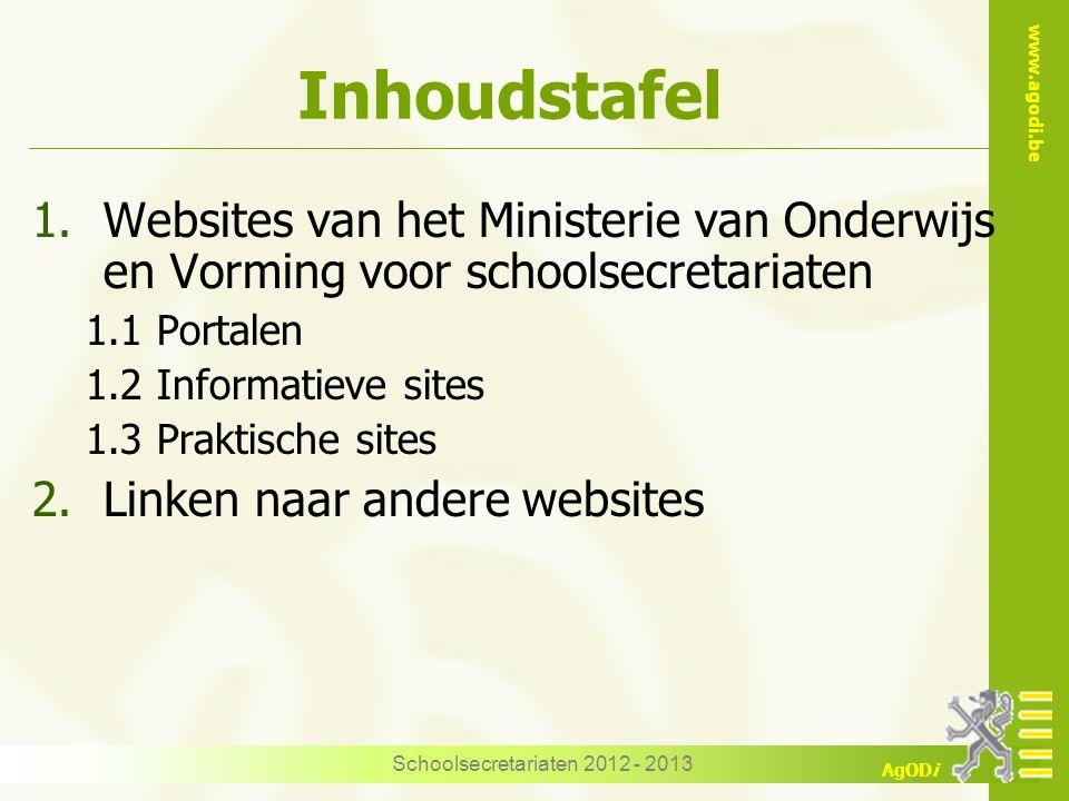 www.agodi.be AgODi Schoolsecretariaten 2012 - 2013 1.2 Edulex Portaalsite naar andere sites Wetwijs WOP Vlaamse Codex