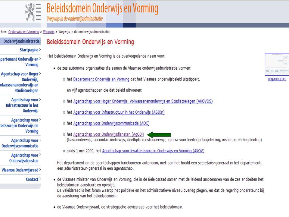 www.agodi.be AgODi Schoolsecretariaten 2012 - 2013 1.3 Praktische sites De formulieren site - Bevat formulieren die de school of de personeelsleden moeten gebruiken voor bepaalde aanvragen of meldingen - Rubriek Personeel >>> rubriek niveau secundair onderwijs http://www.ond.vlaanderen.be/formulieren