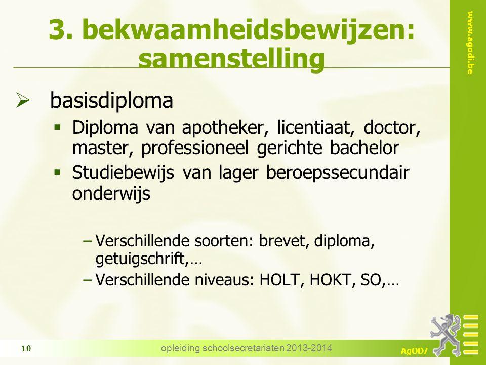 www.agodi.be AgODi opleiding schoolsecretariaten 2013-2014 10 3. bekwaamheidsbewijzen: samenstelling  basisdiploma  Diploma van apotheker, licentiaa