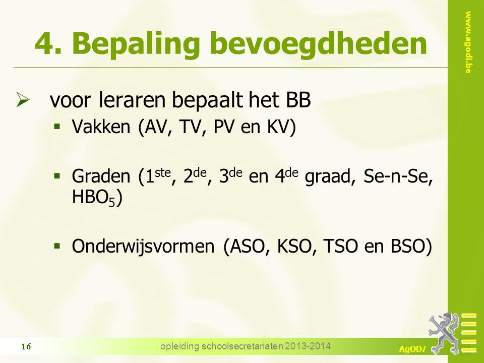 www.agodi.be AgODi opleiding schoolsecretariaten 2013-2014 16 4. Bepaling bevoegdheden  voor leraren bepaalt het BB  Vakken (AV, TV, PV en KV)  Gra