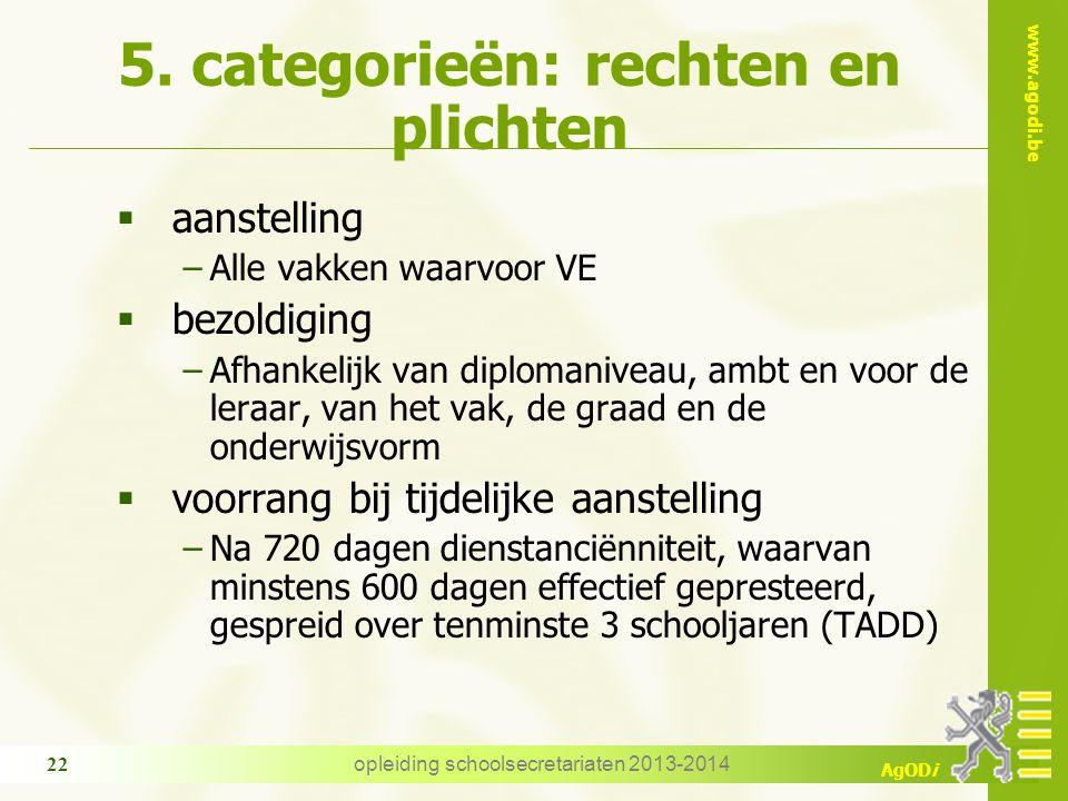 www.agodi.be AgODi opleiding schoolsecretariaten 2013-2014 22 5. categorieën: rechten en plichten  aanstelling −Alle vakken waarvoor VE  bezoldiging