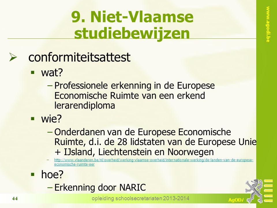www.agodi.be AgODi opleiding schoolsecretariaten 2013-2014 44 9. Niet-Vlaamse studiebewijzen  conformiteitsattest  wat? −Professionele erkenning in