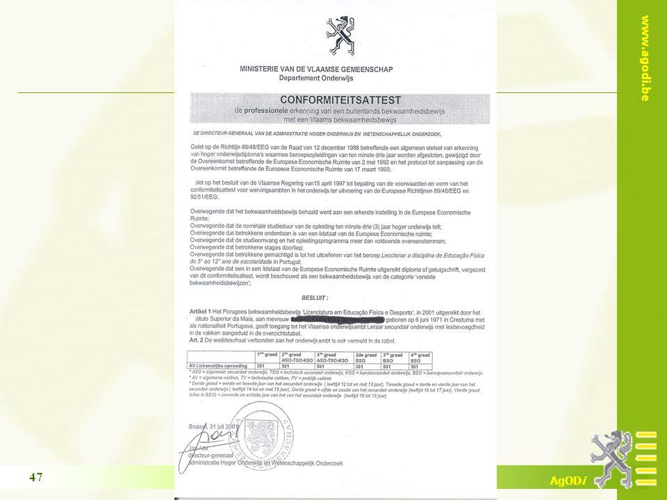 www.agodi.be AgODi opleiding schoolsecretariaten 2011-2012 47