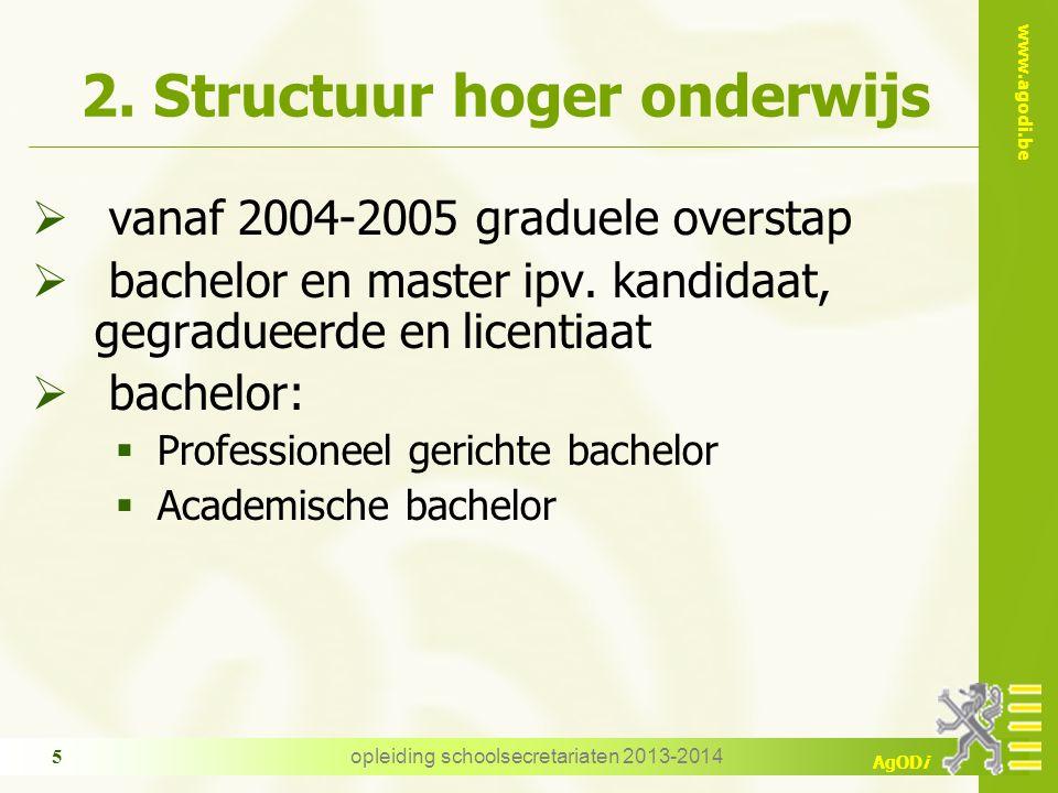 www.agodi.be AgODi opleiding schoolsecretariaten 2013-2014 5 2. Structuur hoger onderwijs  vanaf 2004-2005 graduele overstap  bachelor en master ipv