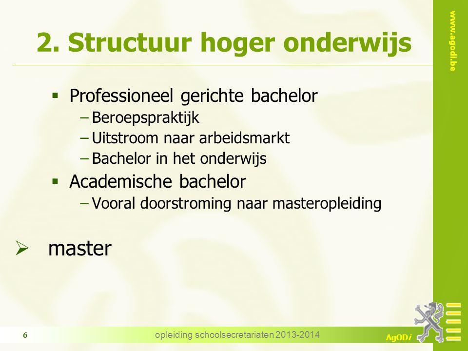 www.agodi.be AgODi opleiding schoolsecretariaten 2013-2014 6 2. Structuur hoger onderwijs  Professioneel gerichte bachelor −Beroepspraktijk −Uitstroo