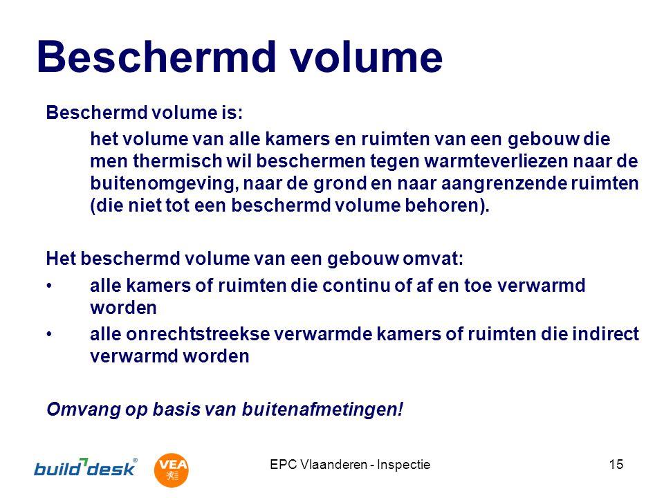 EPC Vlaanderen - Inspectie15 Beschermd volume Beschermd volume is: het volume van alle kamers en ruimten van een gebouw die men thermisch wil bescherm