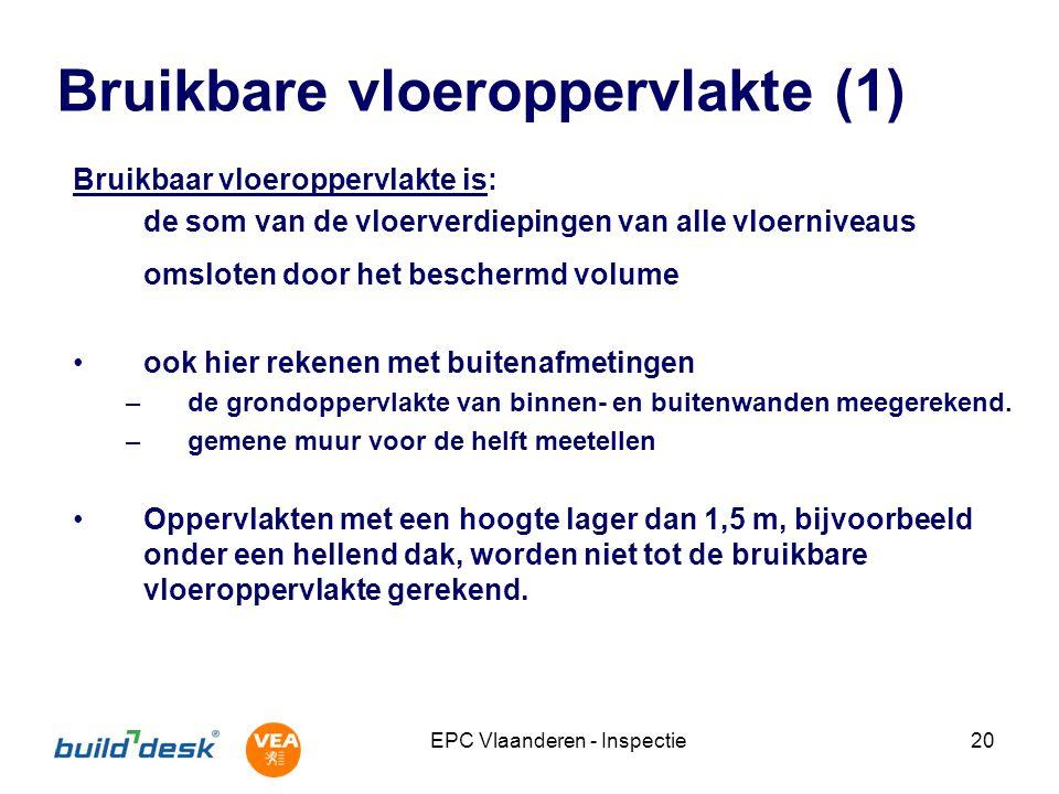 EPC Vlaanderen - Inspectie20 Bruikbare vloeroppervlakte (1) Bruikbaar vloeroppervlakte is: de som van de vloerverdiepingen van alle vloerniveaus omslo