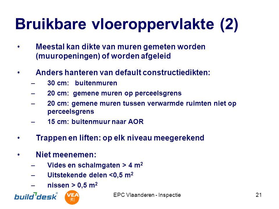 EPC Vlaanderen - Inspectie21 Bruikbare vloeroppervlakte (2) Meestal kan dikte van muren gemeten worden (muuropeningen) of worden afgeleid Anders hante