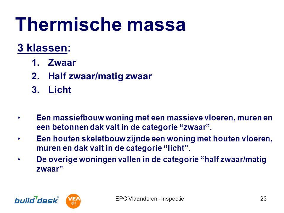 EPC Vlaanderen - Inspectie23 Thermische massa 3 klassen: 1.Zwaar 2.Half zwaar/matig zwaar 3.Licht Een massiefbouw woning met een massieve vloeren, mur