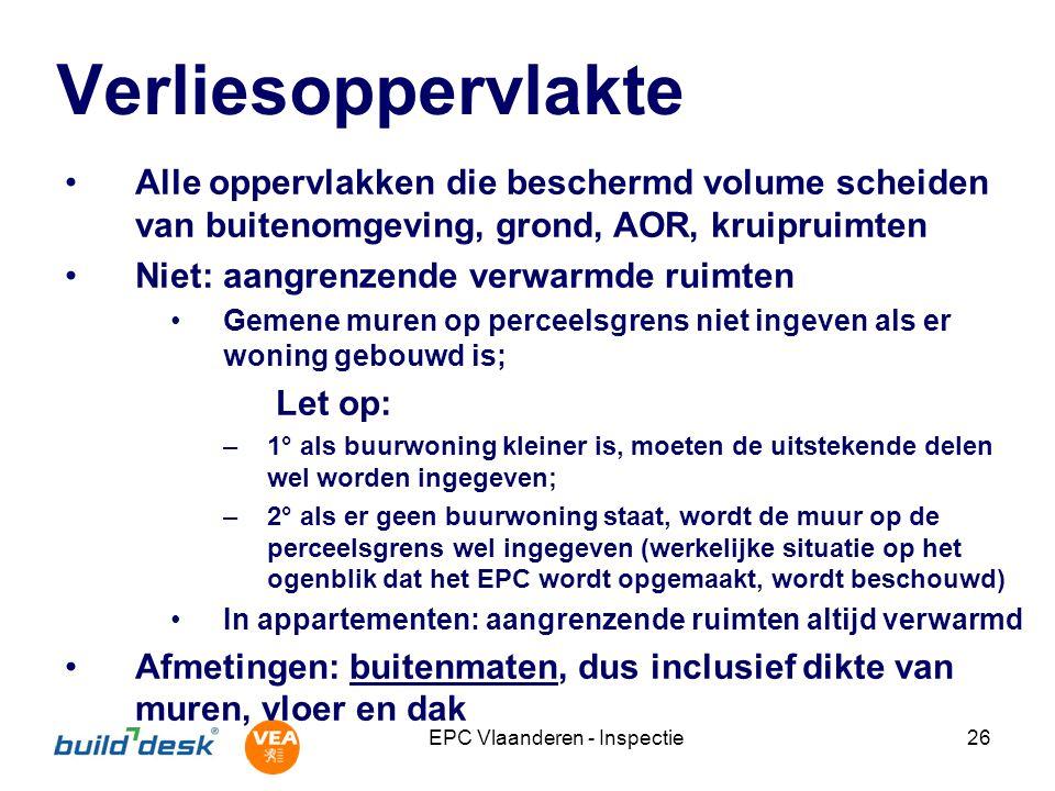 EPC Vlaanderen - Inspectie26 Verliesoppervlakte Alle oppervlakken die beschermd volume scheiden van buitenomgeving, grond, AOR, kruipruimten Niet: aan