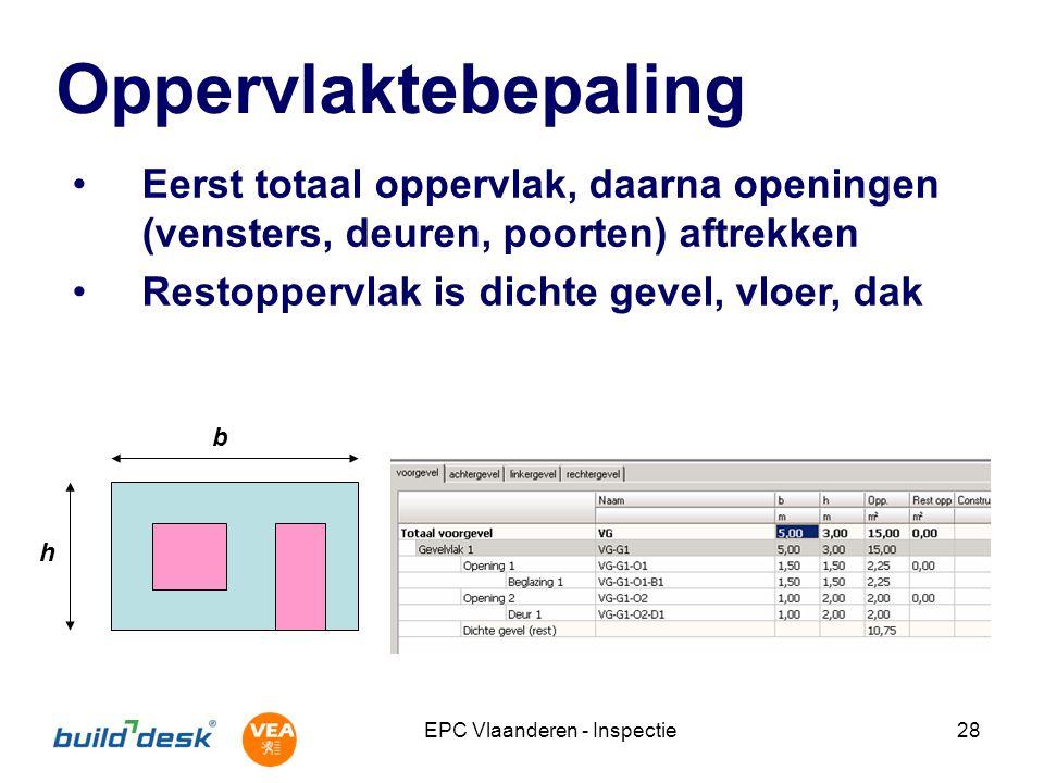 EPC Vlaanderen - Inspectie28 Oppervlaktebepaling Eerst totaal oppervlak, daarna openingen (vensters, deuren, poorten) aftrekken Restoppervlak is dicht