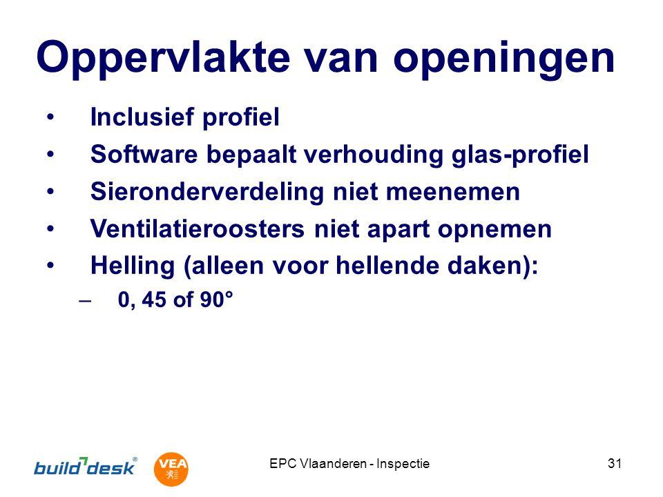 EPC Vlaanderen - Inspectie31 Oppervlakte van openingen Inclusief profiel Software bepaalt verhouding glas-profiel Sieronderverdeling niet meenemen Ven