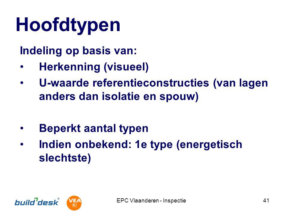 EPC Vlaanderen - Inspectie41 Hoofdtypen Indeling op basis van: Herkenning (visueel) U-waarde referentieconstructies (van lagen anders dan isolatie en