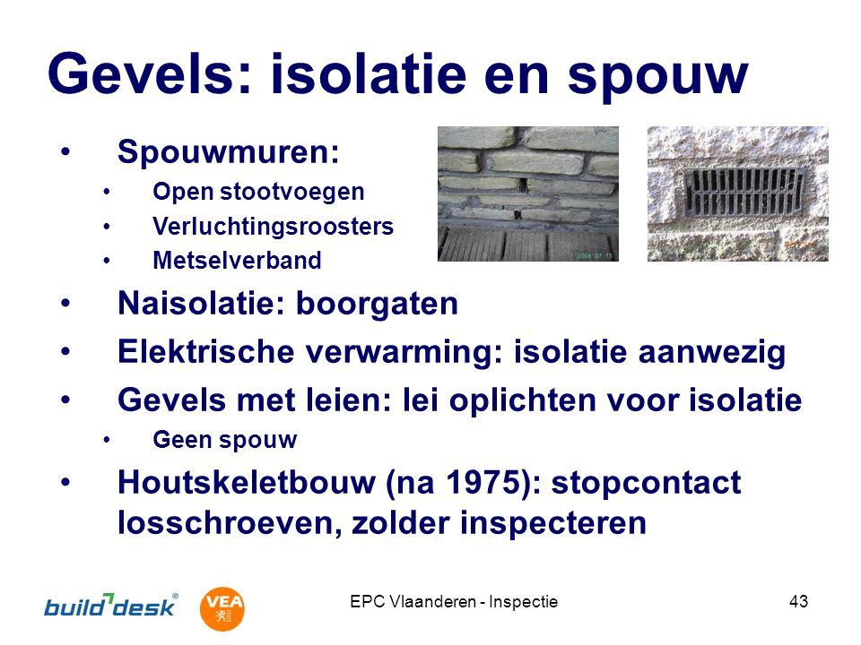 EPC Vlaanderen - Inspectie43 Gevels: isolatie en spouw Spouwmuren: Open stootvoegen Verluchtingsroosters Metselverband Naisolatie: boorgaten Elektrisc