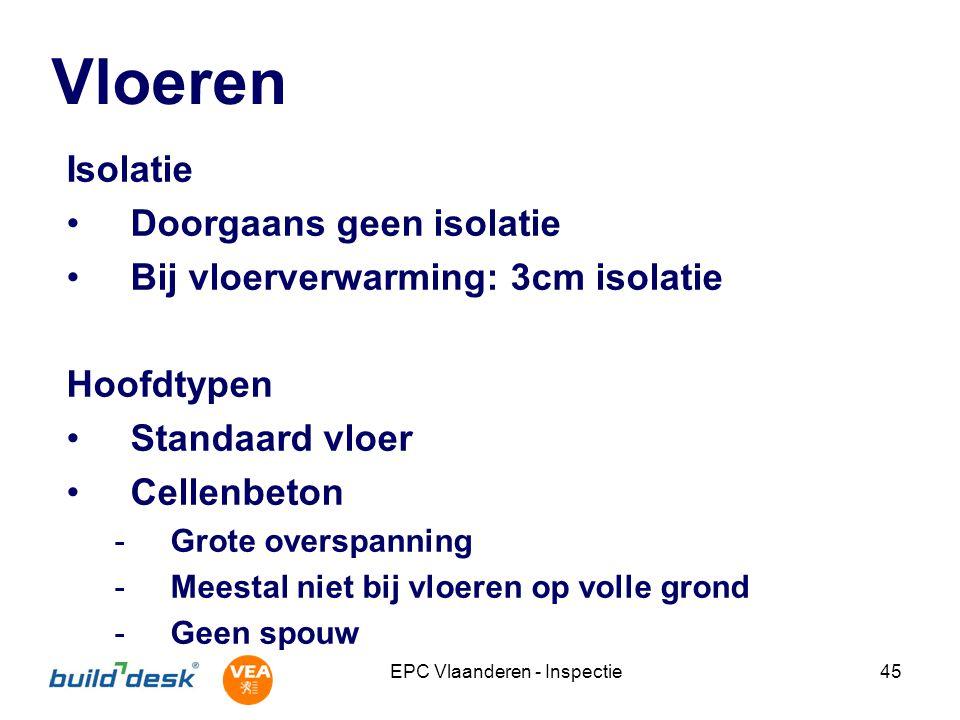 EPC Vlaanderen - Inspectie45 Vloeren Isolatie Doorgaans geen isolatie Bij vloerverwarming: 3cm isolatie Hoofdtypen Standaard vloer Cellenbeton -Grote