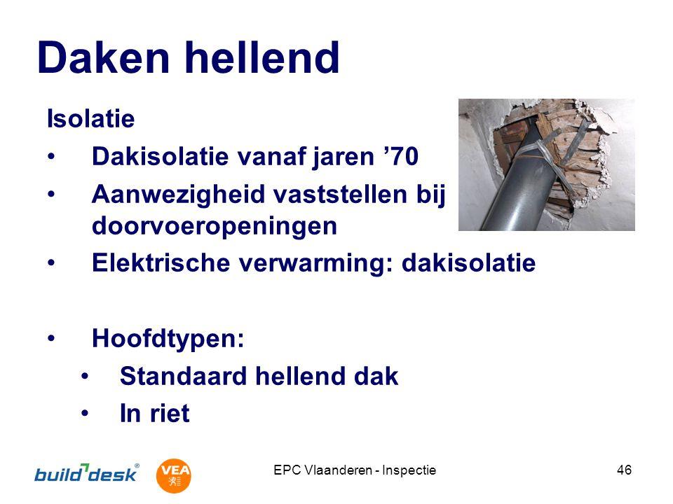 EPC Vlaanderen - Inspectie46 Daken hellend Isolatie Dakisolatie vanaf jaren '70 Aanwezigheid vaststellen bij doorvoeropeningen Elektrische verwarming: