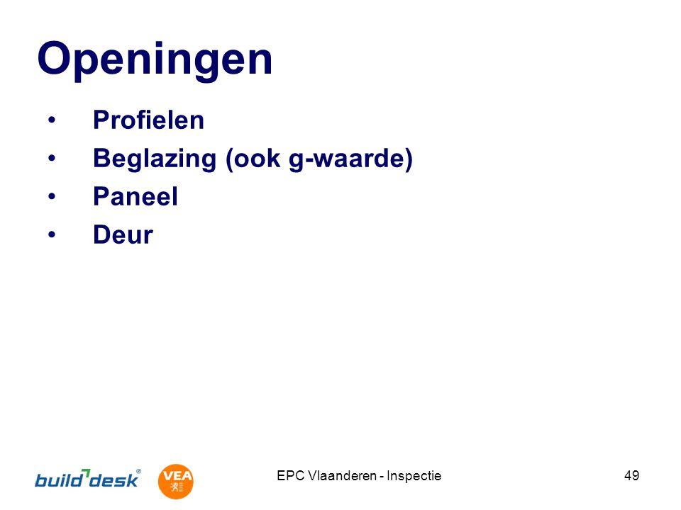 EPC Vlaanderen - Inspectie49 Openingen Profielen Beglazing (ook g-waarde) Paneel Deur