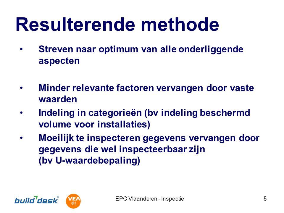 EPC Vlaanderen - Inspectie5 Resulterende methode Streven naar optimum van alle onderliggende aspecten Minder relevante factoren vervangen door vaste w
