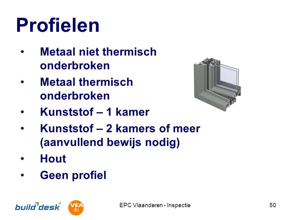 EPC Vlaanderen - Inspectie50 Profielen Metaal niet thermisch onderbroken Metaal thermisch onderbroken Kunststof – 1 kamer Kunststof – 2 kamers of meer