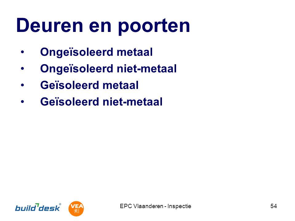 EPC Vlaanderen - Inspectie54 Deuren en poorten Ongeïsoleerd metaal Ongeïsoleerd niet-metaal Geïsoleerd metaal Geïsoleerd niet-metaal