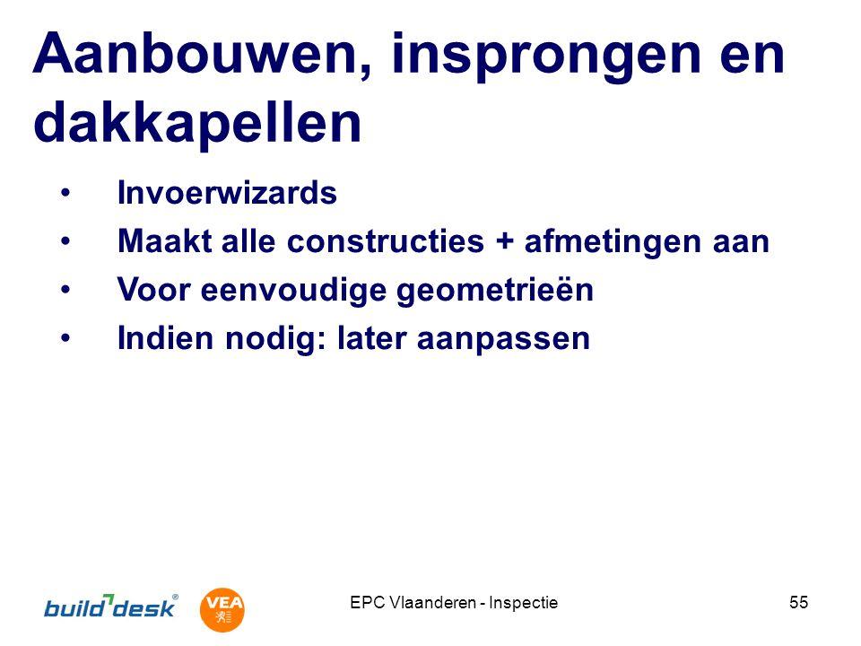 EPC Vlaanderen - Inspectie55 Aanbouwen, insprongen en dakkapellen Invoerwizards Maakt alle constructies + afmetingen aan Voor eenvoudige geometrieën I