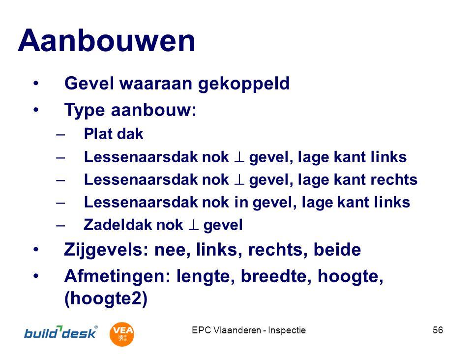 EPC Vlaanderen - Inspectie56 Aanbouwen Gevel waaraan gekoppeld Type aanbouw: –Plat dak –Lessenaarsdak nok  gevel, lage kant links –Lessenaarsdak nok