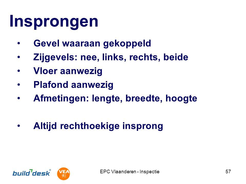 EPC Vlaanderen - Inspectie57 Insprongen Gevel waaraan gekoppeld Zijgevels: nee, links, rechts, beide Vloer aanwezig Plafond aanwezig Afmetingen: lengt