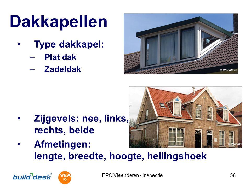 EPC Vlaanderen - Inspectie58 Dakkapellen Type dakkapel: –Plat dak –Zadeldak Zijgevels: nee, links, rechts, beide Afmetingen: lengte, breedte, hoogte,