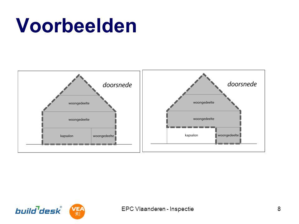 EPC Vlaanderen - Inspectie29 Oppervlakte van dichte constructies Hellende daken (> 15 °) Hellingshoek zinvol voor oppervlakte Dakkapel Platte daken Geen overstek Koepels: projectie Plafonds Grenzend aan AOR